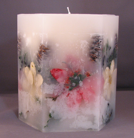 Hexagon Poinsettia and Juniper Embedded Candle