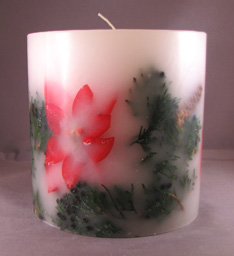 Round Poinsettia and Juniper Embedded Candle