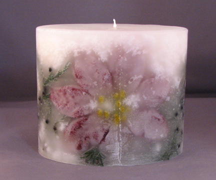 Oval Poinsettia and Juniper Embedded Candle
